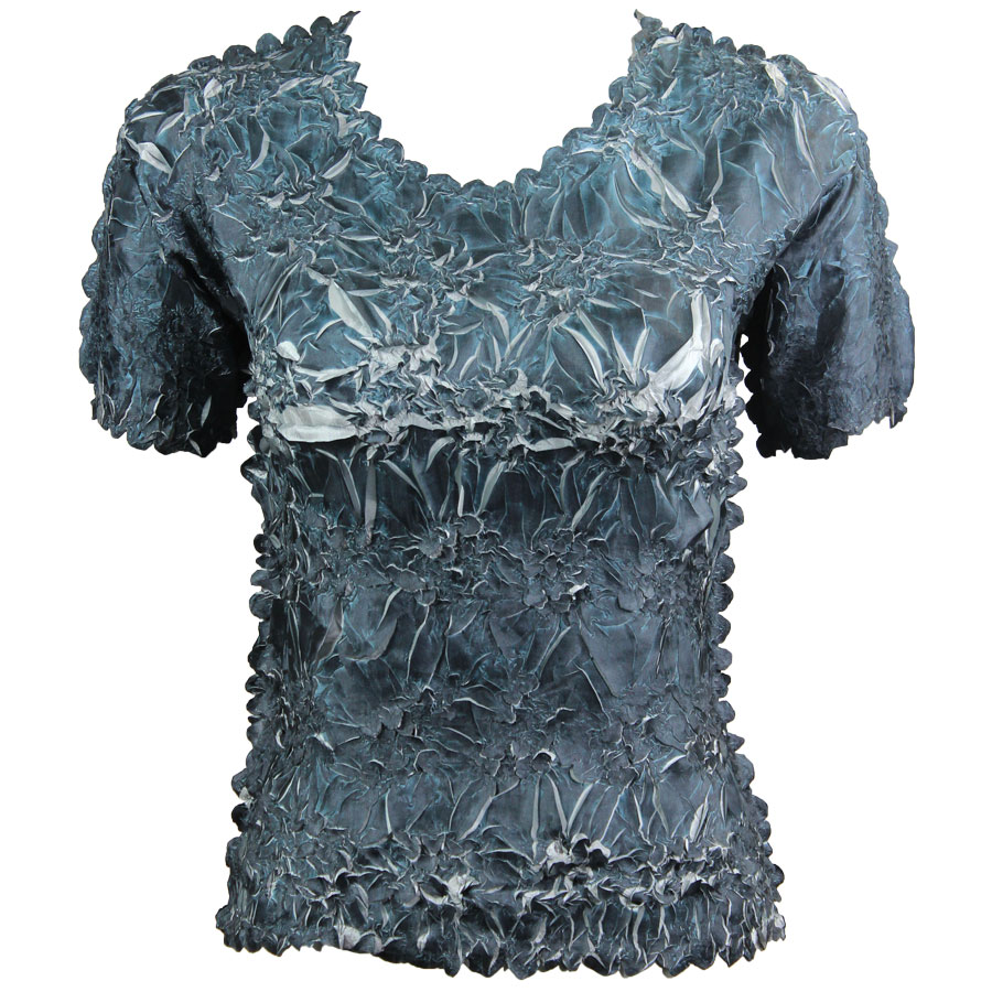 Wholesale Origami - Short Sleeve Black - Silver - Queen Size Fits (XL-3X)