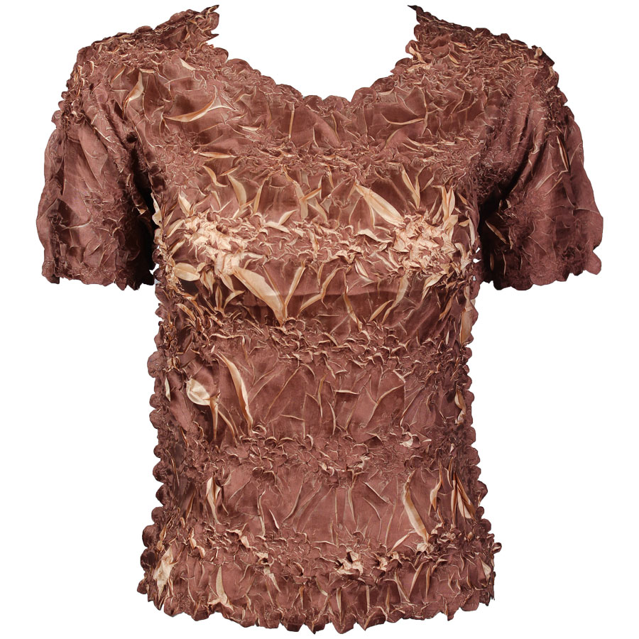 Wholesale Origami - Short Sleeve Chocolate - Champagne - Queen Size Fits (XL-3X)