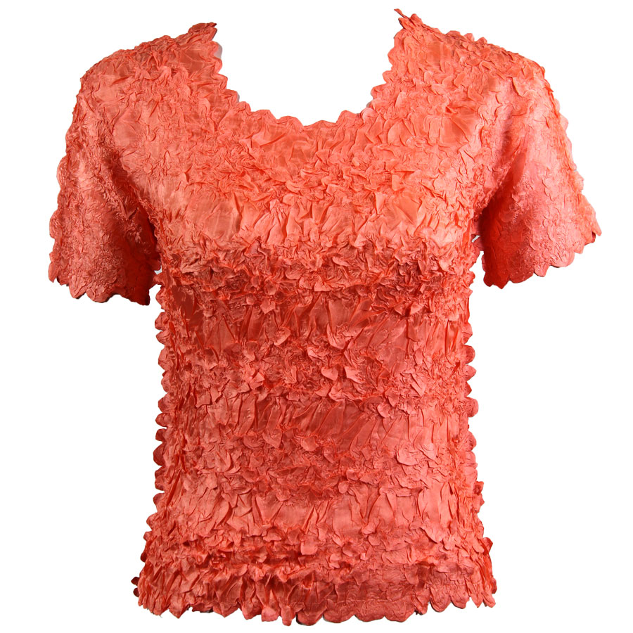 Wholesale Origami - Short Sleeve Solid Tangerine - Queen Size Fits (XL-3X)