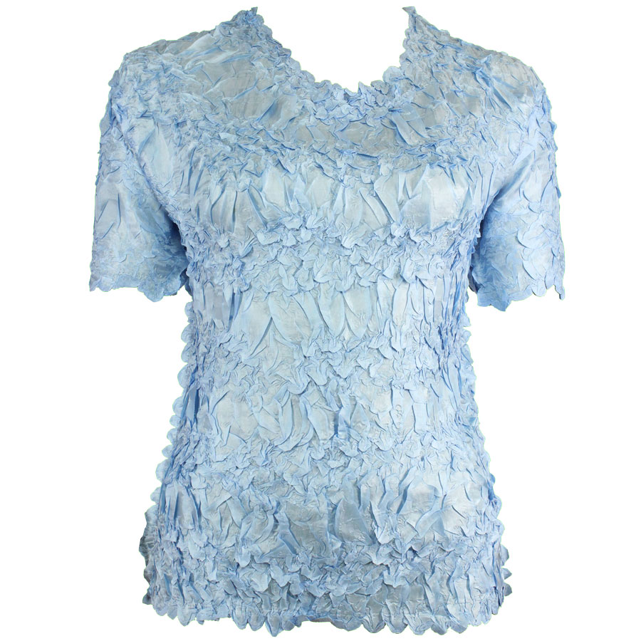 Wholesale Origami - Short Sleeve Solid Sky Blue - Queen Size Fits (XL-3X)