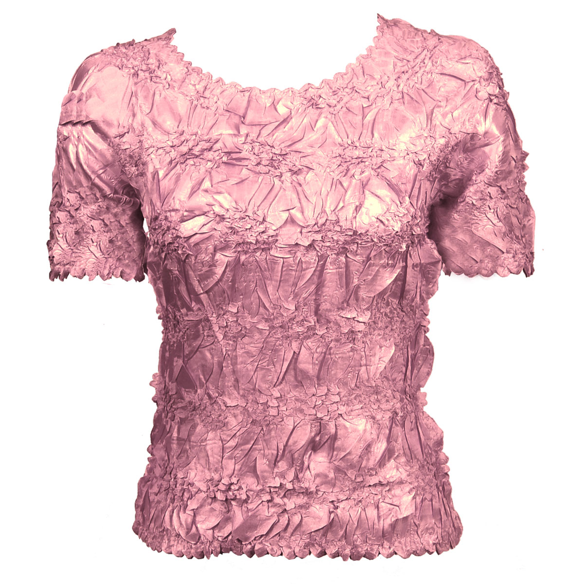 Wholesale Origami - Short Sleeve Solid Lilac Pink - Queen Size Fits (XL-3X)