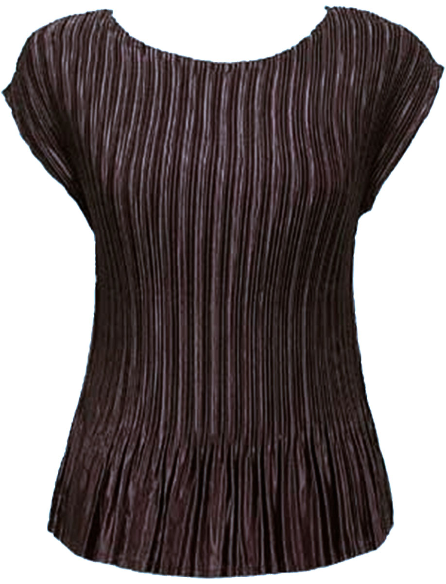 Wholesale Satin Mini Pleats - Cap Sleeve Solid Brown - One Size (S-L)