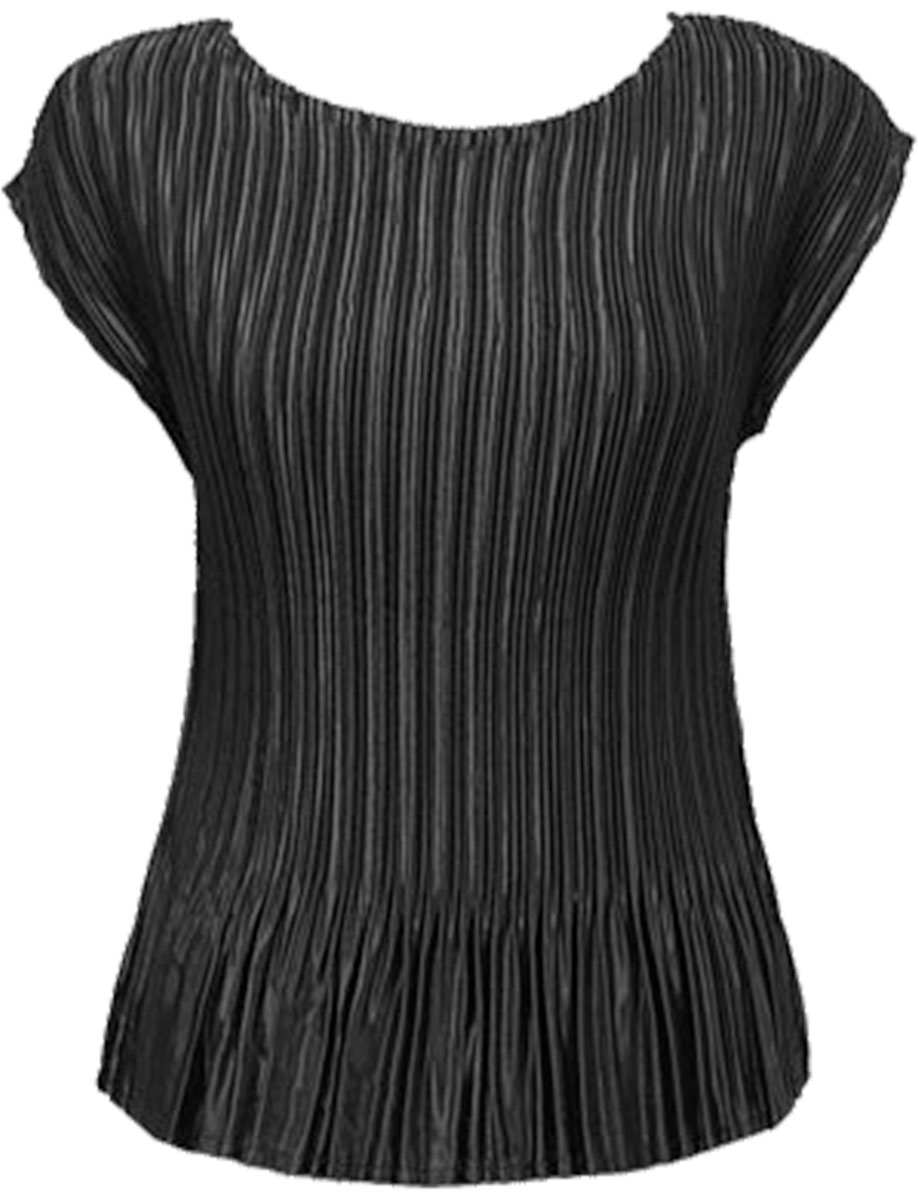 Wholesale Satin Mini Pleats - Cap Sleeve Solid Black - One Size (S-L)