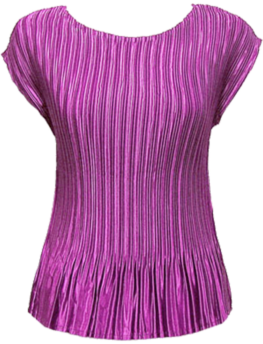 Wholesale Satin Mini Pleats - Cap Sleeve Solid Orchid Pink - One Size (S-L)