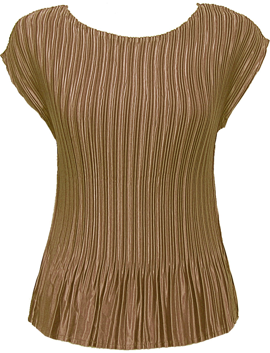 Wholesale Satin Mini Pleats - Cap Sleeve Solid Taupe - One Size (S-L)
