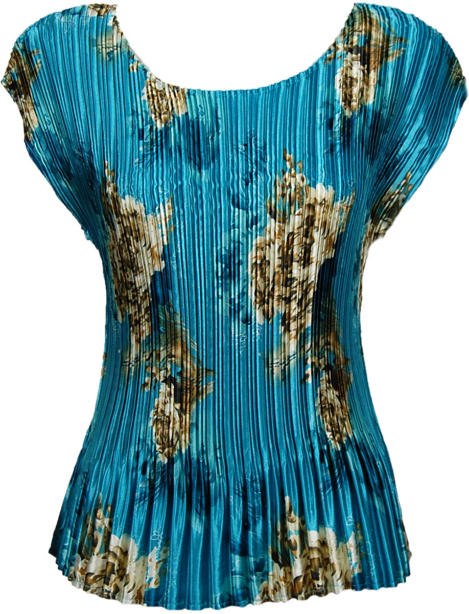 Wholesale Satin Mini Pleats - Cap Sleeve Taupe on Teal - One Size (S-L)