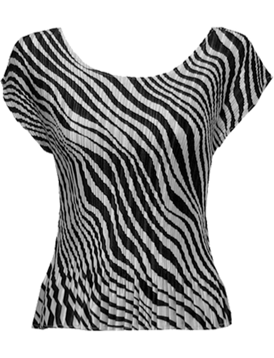 Wholesale Satin Mini Pleats - Cap Sleeve Zebra Stripe - One Size (S-L)