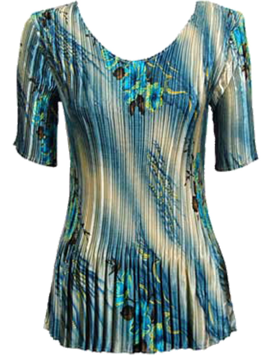Wholesale Satin Mini Pleats - Half Sleeve V-Neck Marble Floral - Blue - One Size (S-XL)