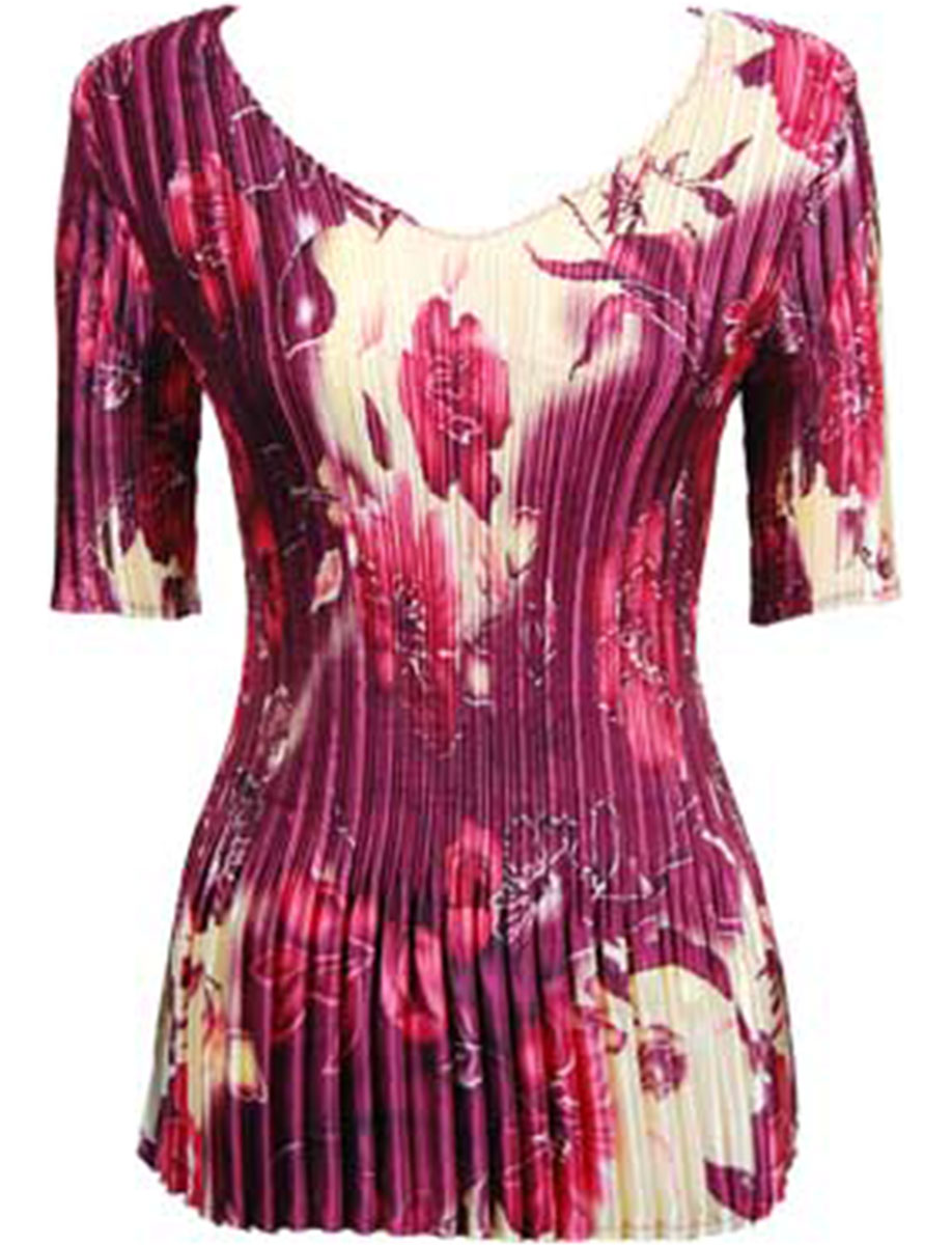 Wholesale Satin Mini Pleats - Half Sleeve V-Neck Rose Floral - Berry - One Size (S-XL)
