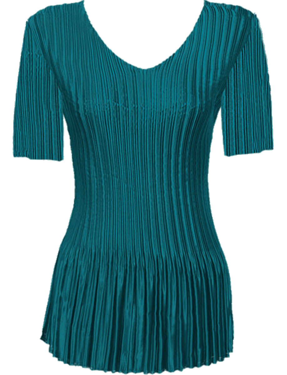 Wholesale Satin Mini Pleats - Half Sleeve V-Neck Solid Dark Turquoise - One Size (S-XL)