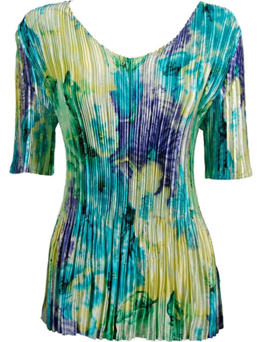 Wholesale Satin Mini Pleats - Half Sleeve V-Neck Blue-Purple-Yellow Watercolors - One Size (S-XL)
