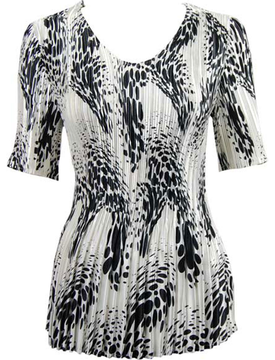 Wholesale Satin Mini Pleats - Half Sleeve V-Neck White-Black Swirl Dots - One Size (S-XL)