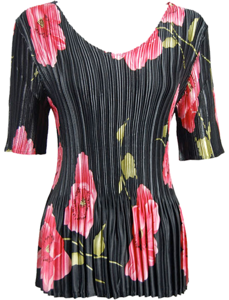 Wholesale Satin Mini Pleats - Half Sleeve V-Neck Black with Pink Roses - One Size (S-XL)