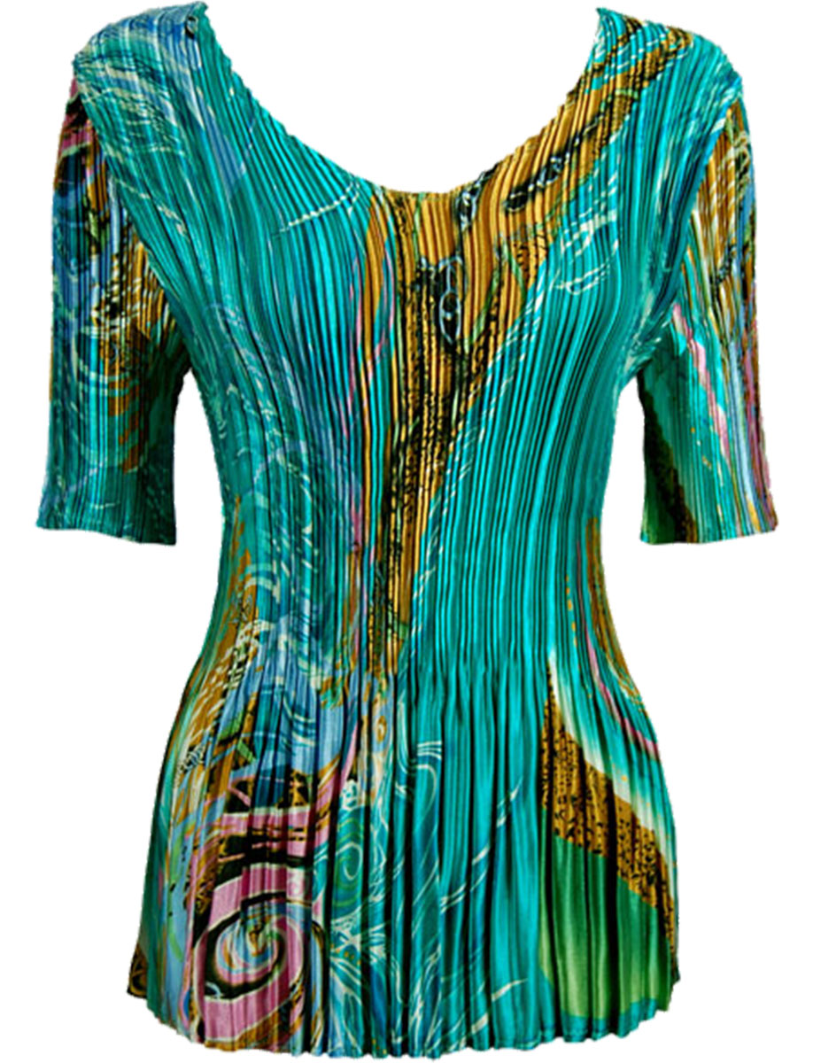 Wholesale Satin Mini Pleats - Half Sleeve V-Neck Swirl Aqua-Blue - One Size (S-XL)