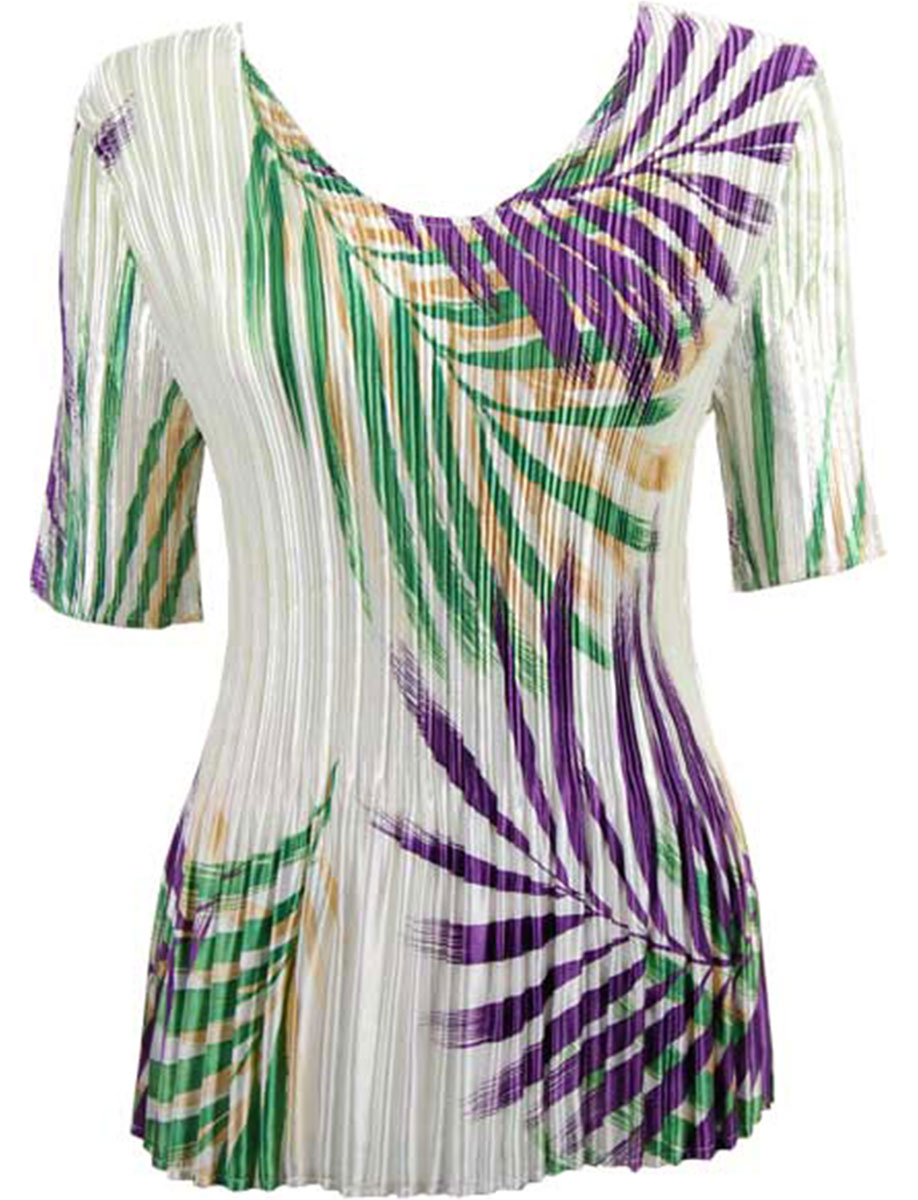 Wholesale Satin Mini Pleats - Half Sleeve V-Neck Palm Leaf Green-Purple - One Size (S-XL)