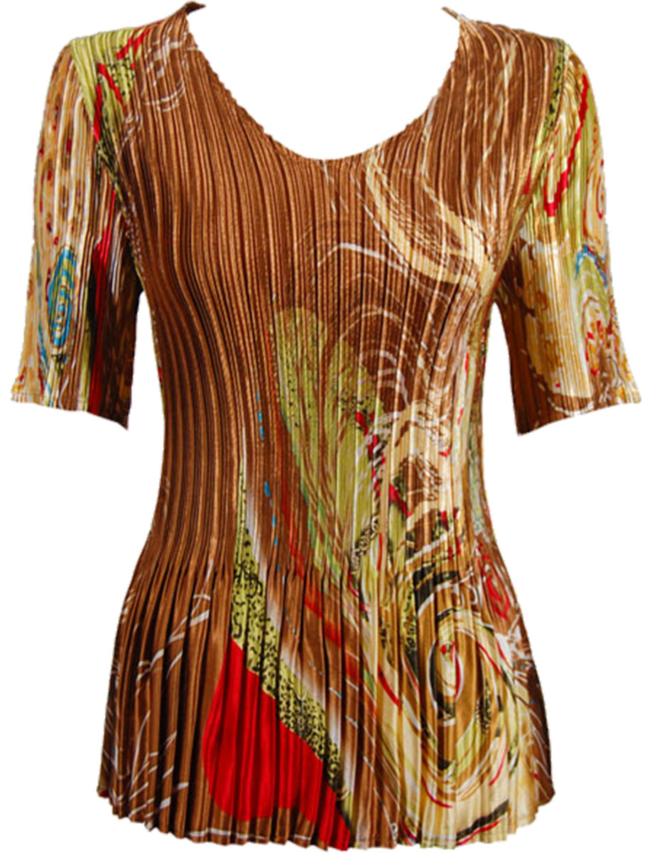 Wholesale Satin Mini Pleats - Half Sleeve V-Neck Swirl Copper-Lime - One Size (S-XL)