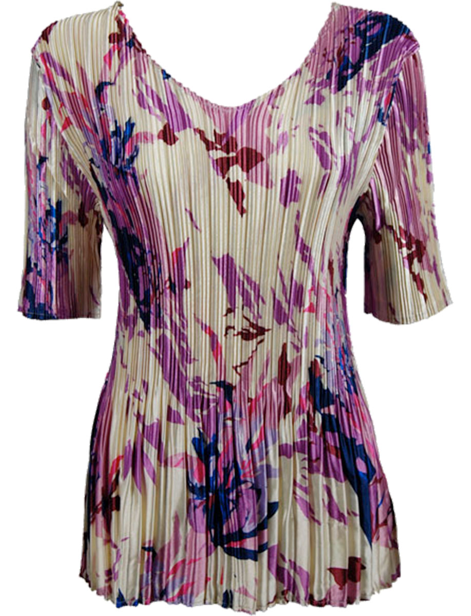 Wholesale Satin Mini Pleats - Half Sleeve V-Neck Abstract Floral Raspberry-Navy - One Size (S-XL)