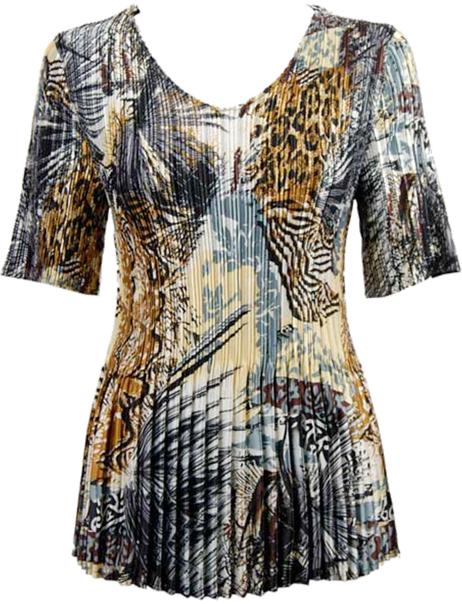 Wholesale Satin Mini Pleats - Half Sleeve V-Neck Abstract Black-Gold - One Size (S-XL)