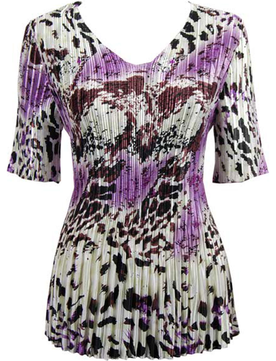 Wholesale Satin Mini Pleats - Half Sleeve V-Neck Reptile Floral - Purple - One Size (S-XL)