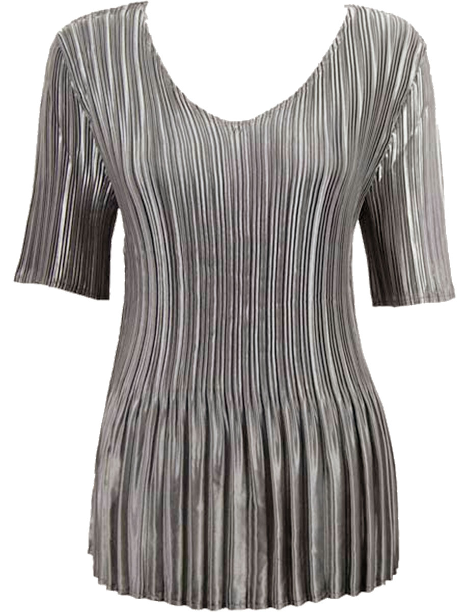 Wholesale Satin Mini Pleats - Half Sleeve V-Neck Solid Charcoal - One Size (S-XL)