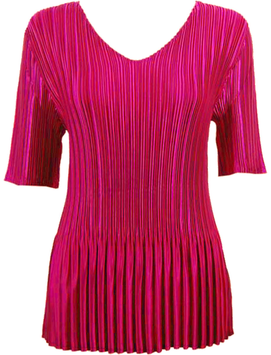 Wholesale Satin Mini Pleats - Half Sleeve V-Neck Solid Magenta - One Size (S-XL)