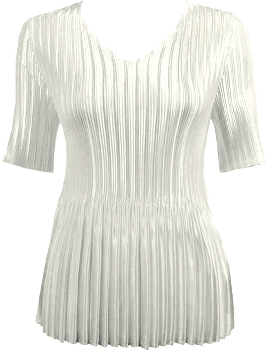 Wholesale Satin Mini Pleats - Half Sleeve V-Neck Solid Off White Milk - One Size (S-XL)