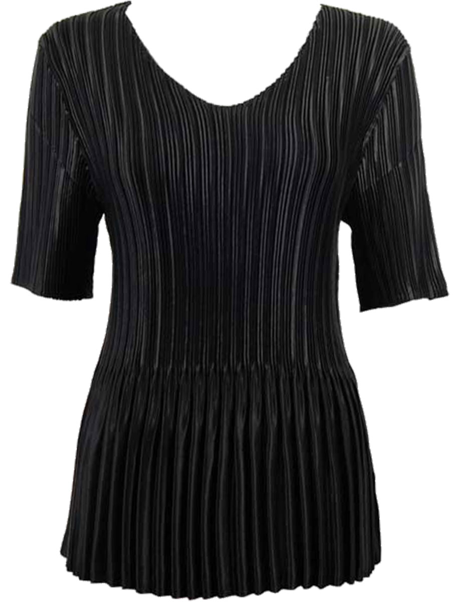 Wholesale Satin Mini Pleats - Half Sleeve V-Neck Solid Black - One Size (S-XL)