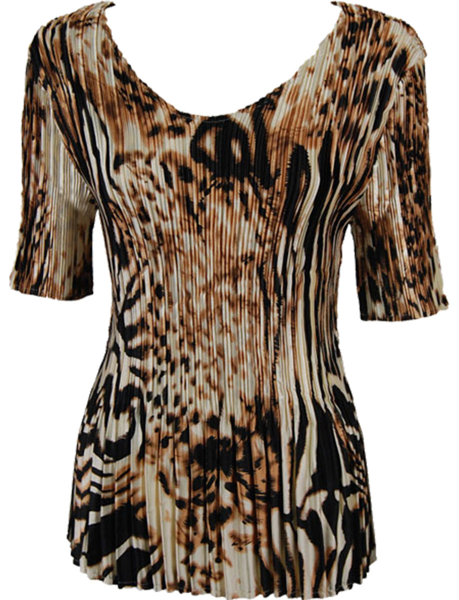 Wholesale Satin Mini Pleats - Half Sleeve V-Neck Bronze Leopard - One Size (S-XL)