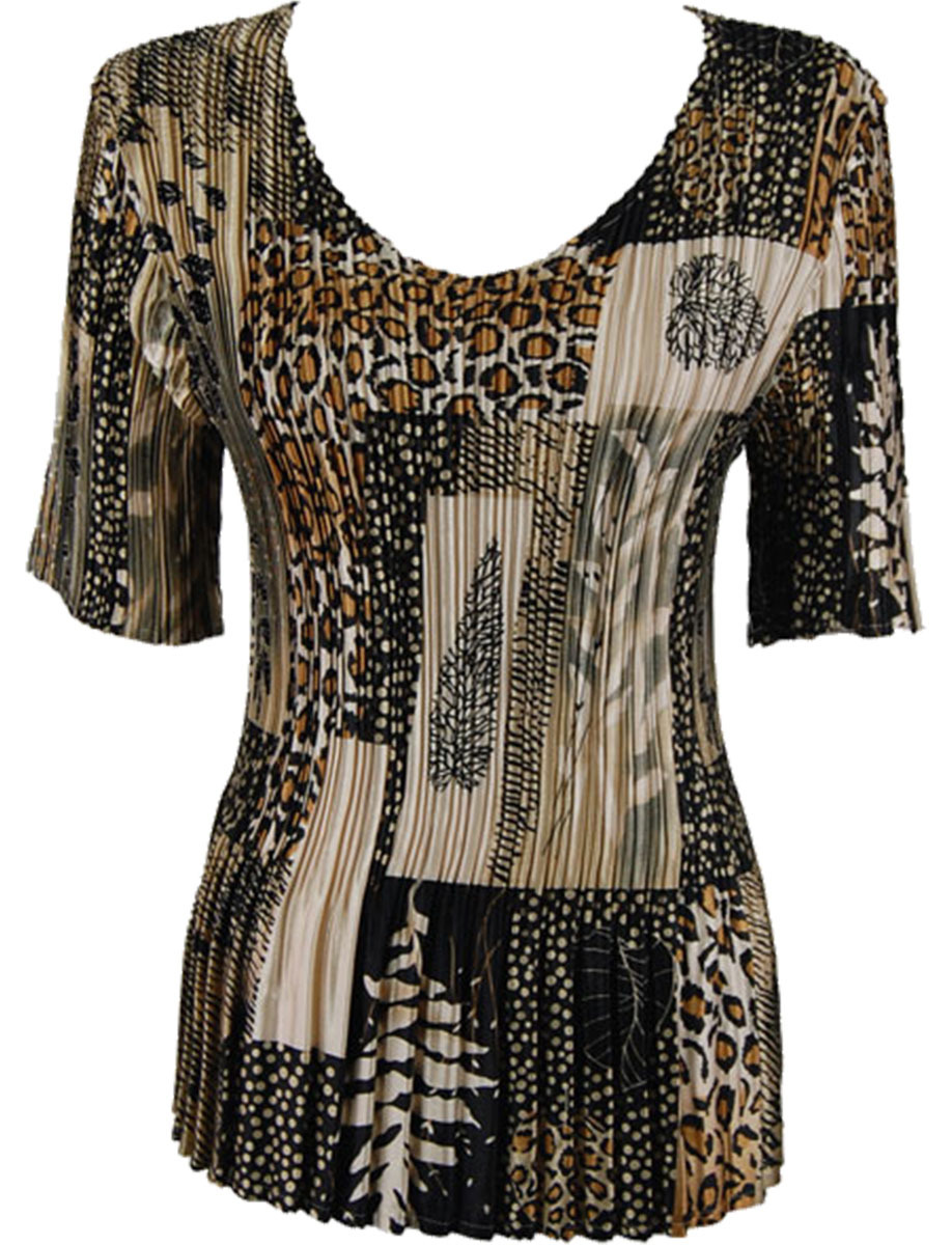 Wholesale Satin Mini Pleats - Half Sleeve V-Neck Patchwork Jungle  - One Size (S-XL)