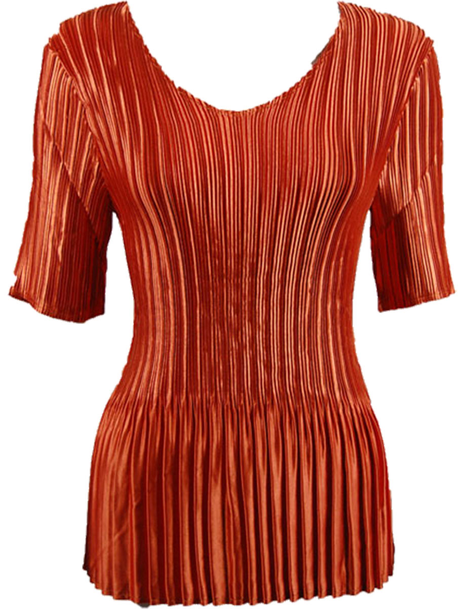 Wholesale Satin Mini Pleats - Half Sleeve V-Neck Solid Paprika - One Size (S-XL)