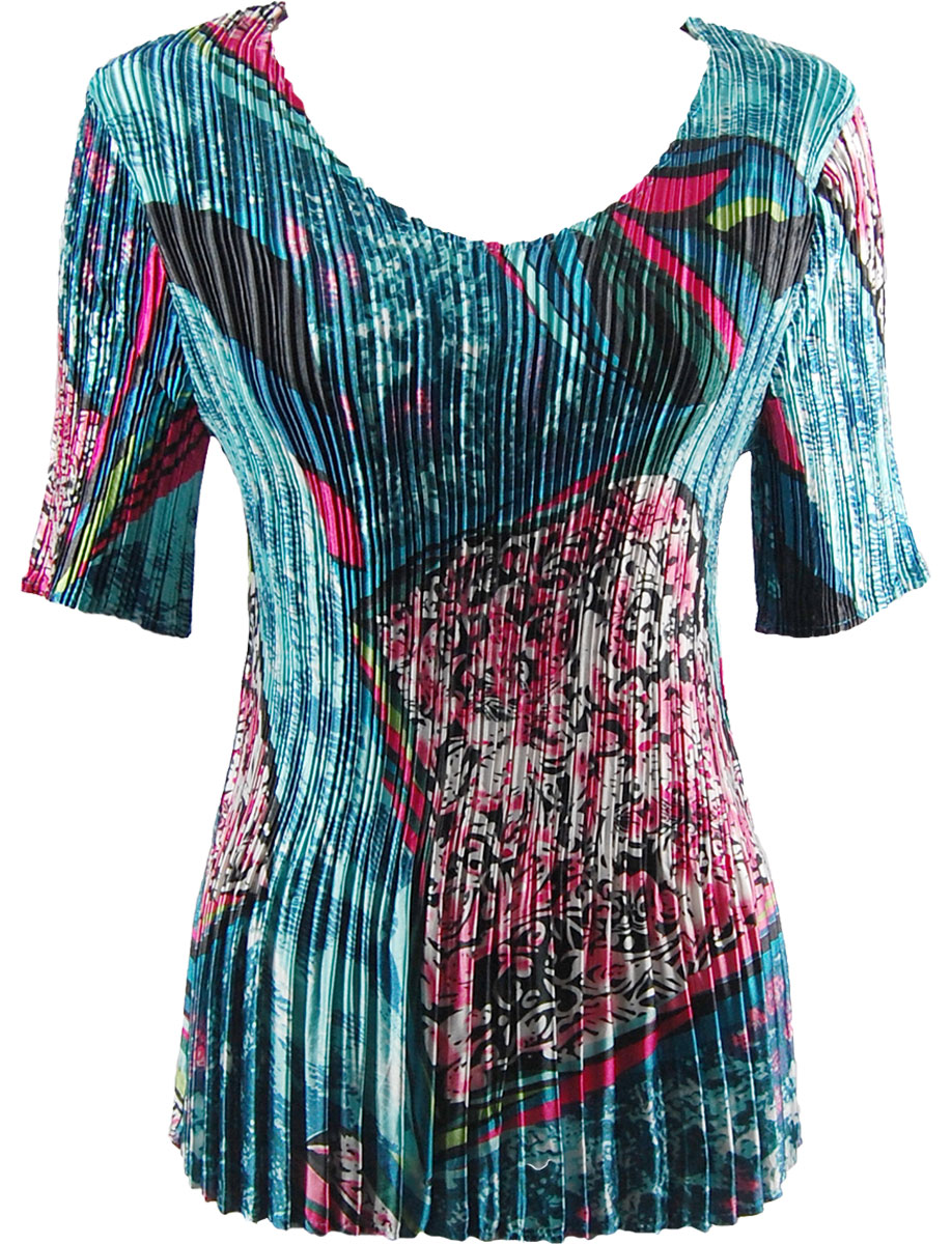 Wholesale Satin Mini Pleats - Half Sleeve V-Neck Oriental Abstract - One Size (S-XL)