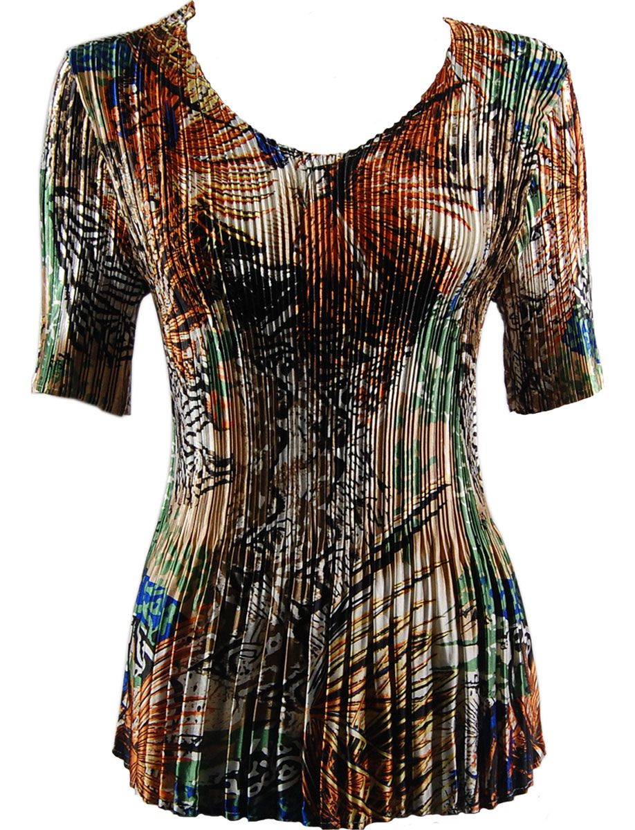 Wholesale Satin Mini Pleats - Half Sleeve V-Neck Abstract Orange-Tan - One Size (S-XL)