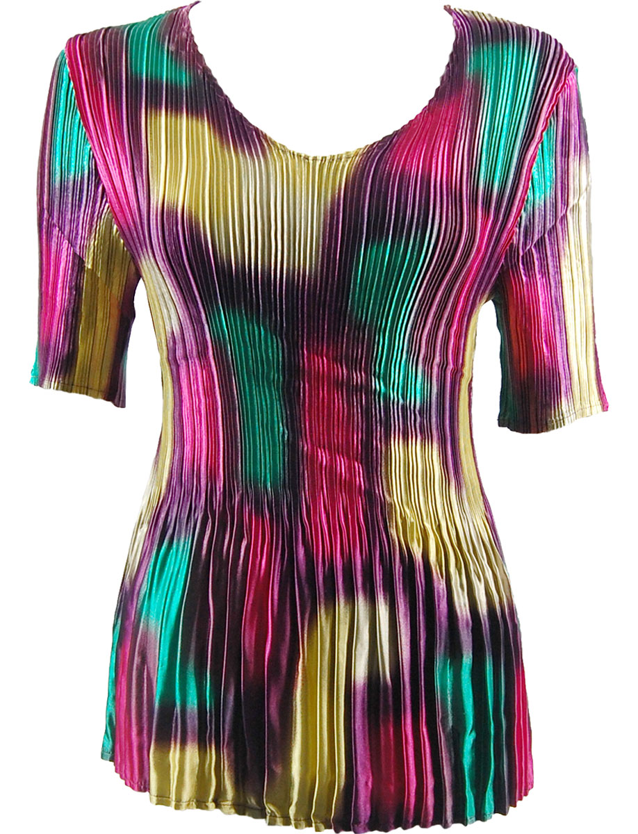 Wholesale Satin Mini Pleats - Half Sleeve V-Neck Spots - Purple-Pink-Green-Yellow - One Size (S-XL)