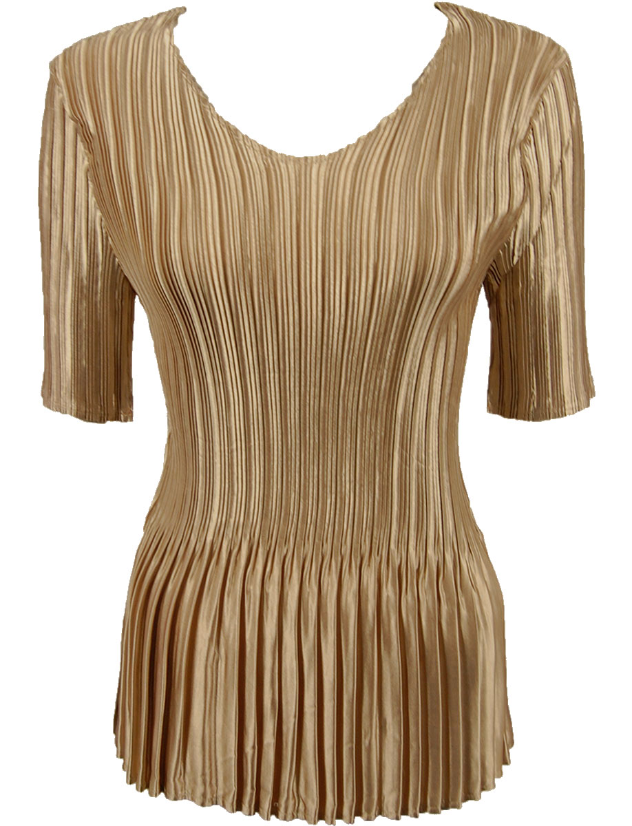 Wholesale Satin Mini Pleats - Half Sleeve V-Neck Solid Light Gold - One Size (S-XL)
