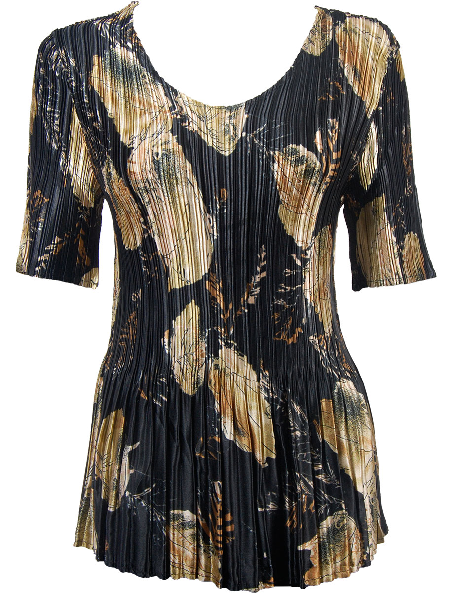 Wholesale Satin Mini Pleats - Half Sleeve V-Neck Black with Gold Leaves - One Size (S-XL)
