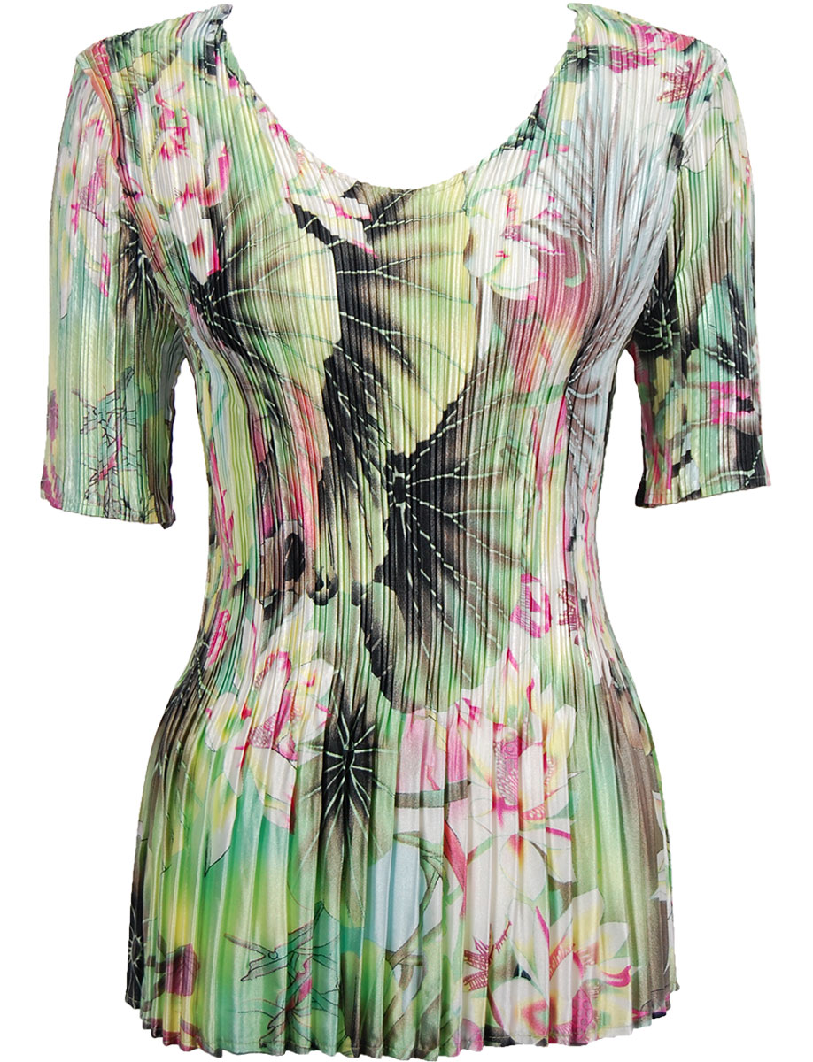 Wholesale Satin Mini Pleats - Half Sleeve V-Neck Lime-Coral Floral  - One Size (S-XL)