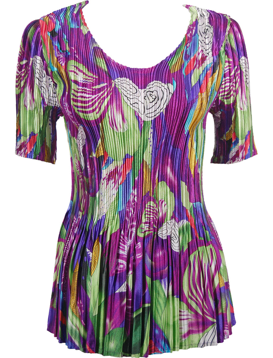 Wholesale Satin Mini Pleats - Half Sleeve V-Neck Magenta Fantasy - One Size (S-XL)