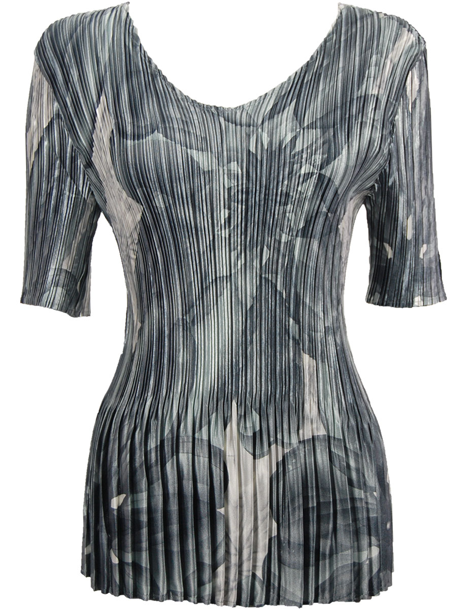 Wholesale Satin Mini Pleats - Half Sleeve V-Neck Silver Abstract - One Size (S-XL)