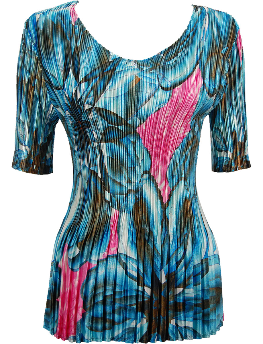 Wholesale Satin Mini Pleats - Half Sleeve V-Neck Blue-Pink Floral  - One Size (S-XL)