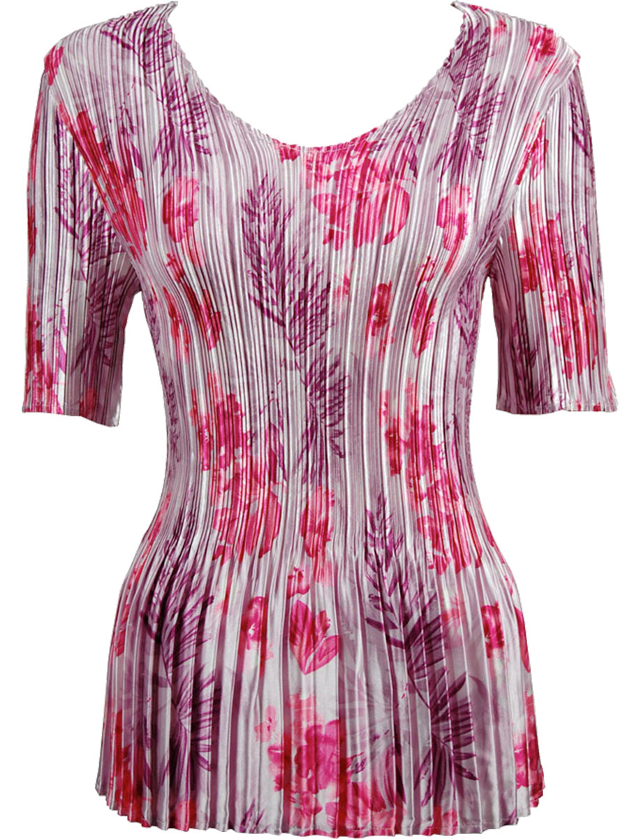 Satin Mini Pleats - Half Sleeve V-Neck - Mauve-Pink Floral