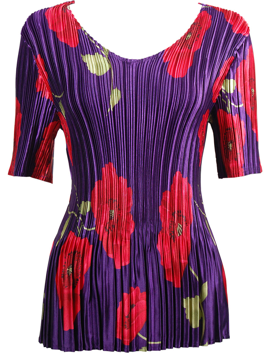 Wholesale Satin Mini Pleats - Half Sleeve V-Neck Red Poppies on Purple - One Size (S-XL)