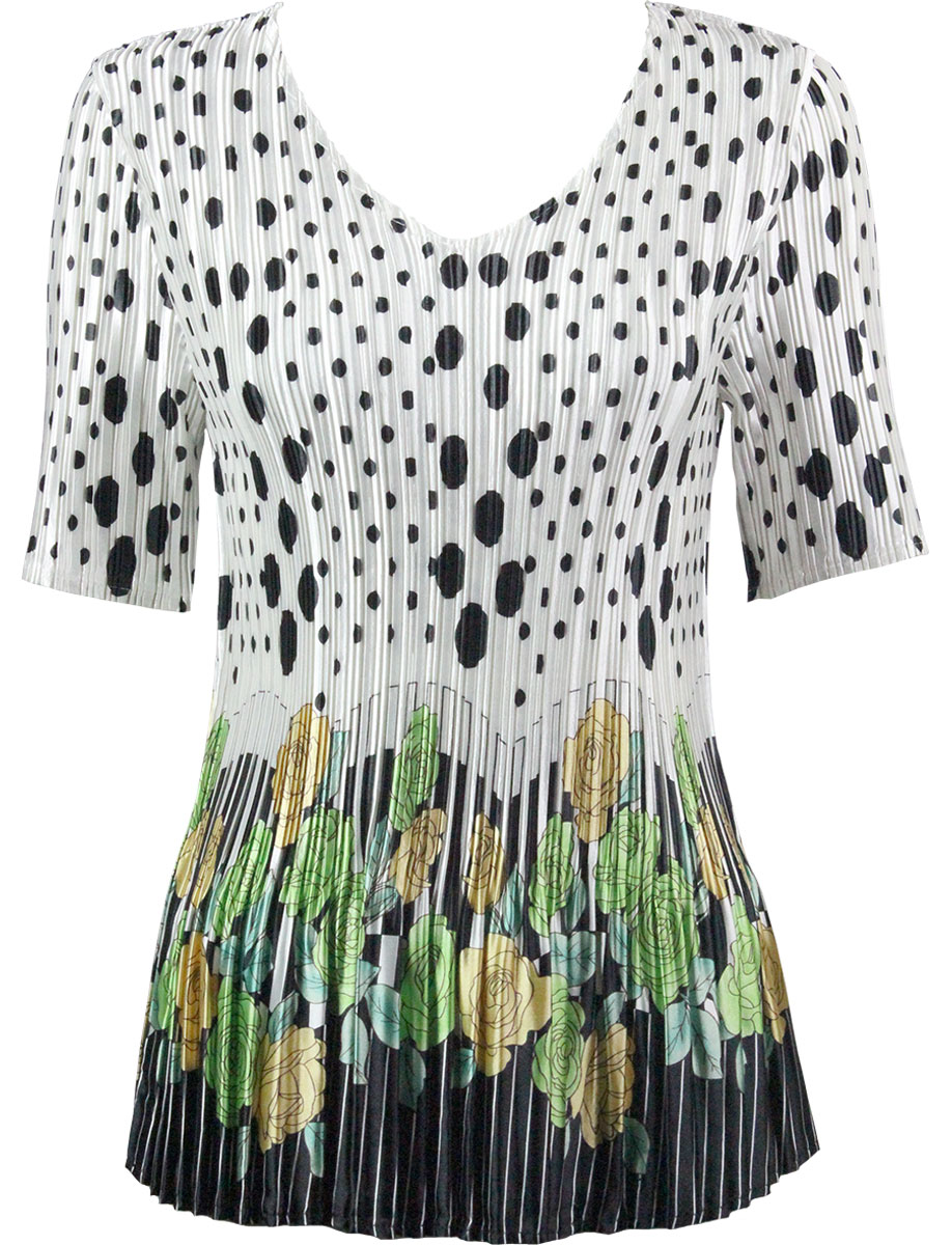Wholesale Satin Mini Pleats - Half Sleeve V-Neck Polka Dot Garden - Green - One Size (S-XL)