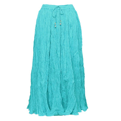 Wholesale Skirts - Long Cotton Broomstick with Pocket 503 Solid Aqua -