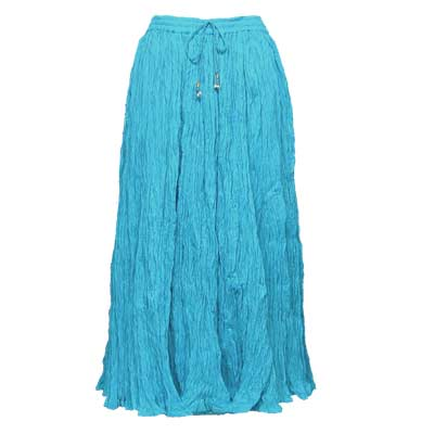 Wholesale Skirts - Long Cotton Broomstick with Pocket 503 Solid Turquoise -