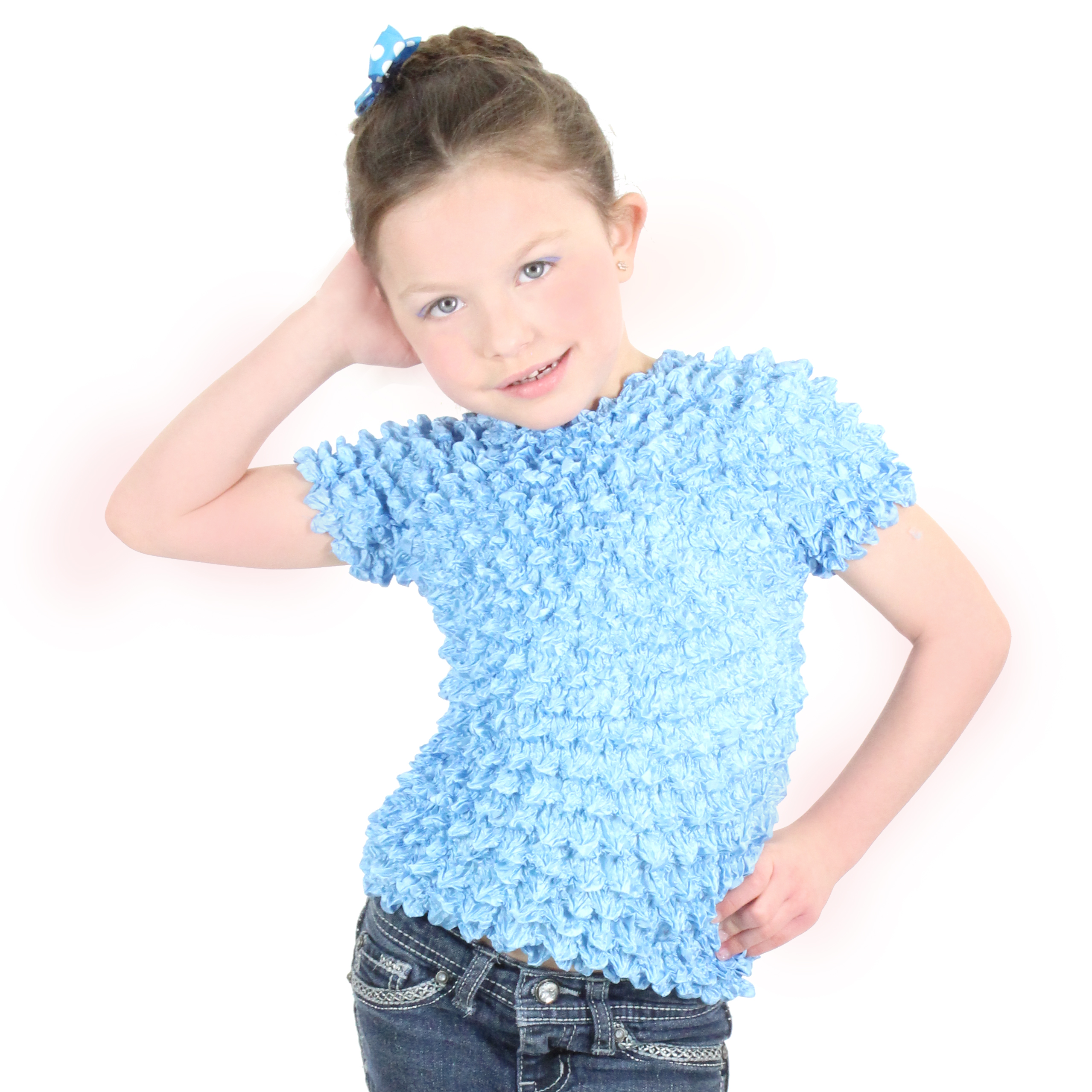 Wholesale Silky Touch Popcorn - Kids Size  Short Sleeve Baby Blue - Toddler - Tween