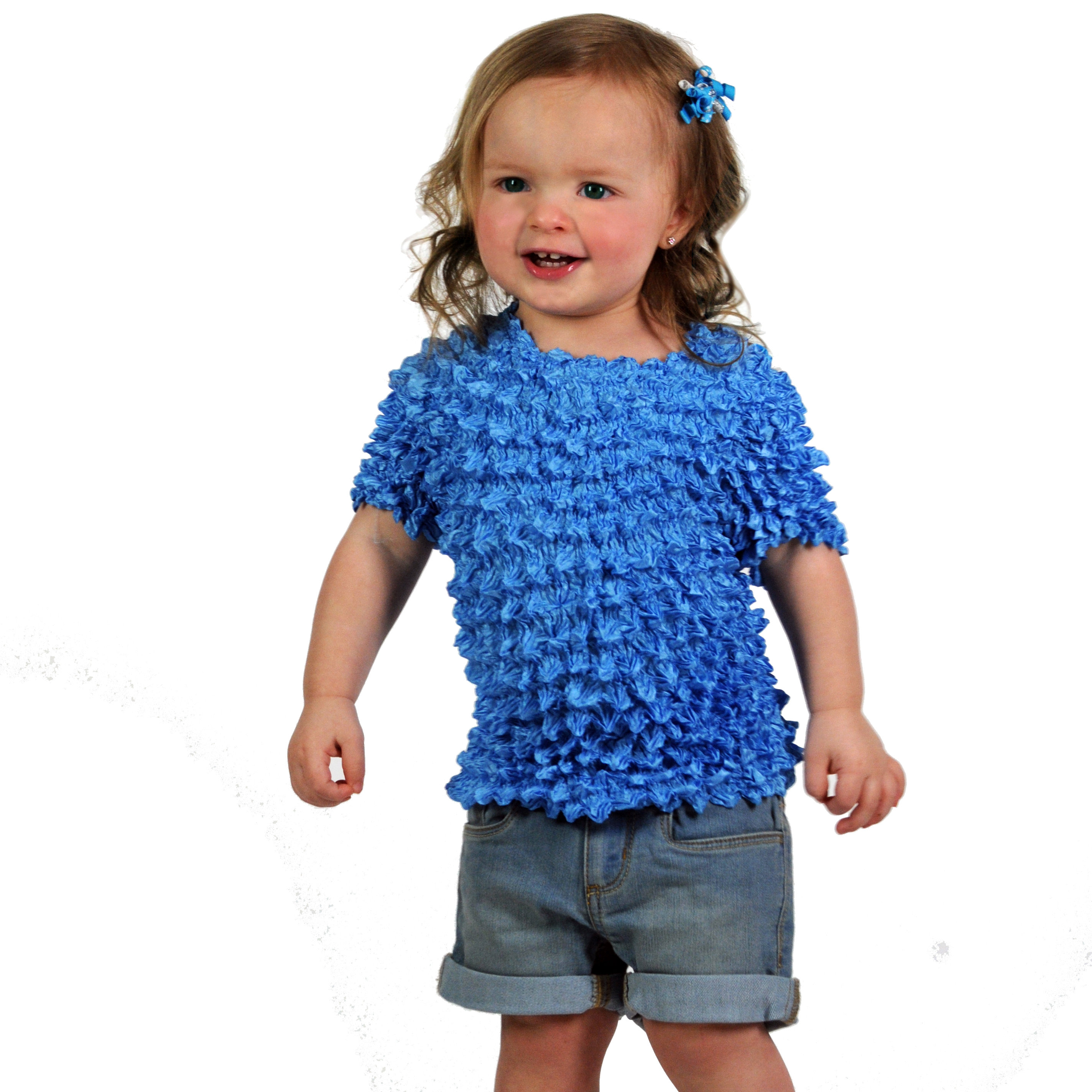 Wholesale Silky Touch Popcorn - Kids Size  Short Sleeve Turquoise - Toddler - Tween