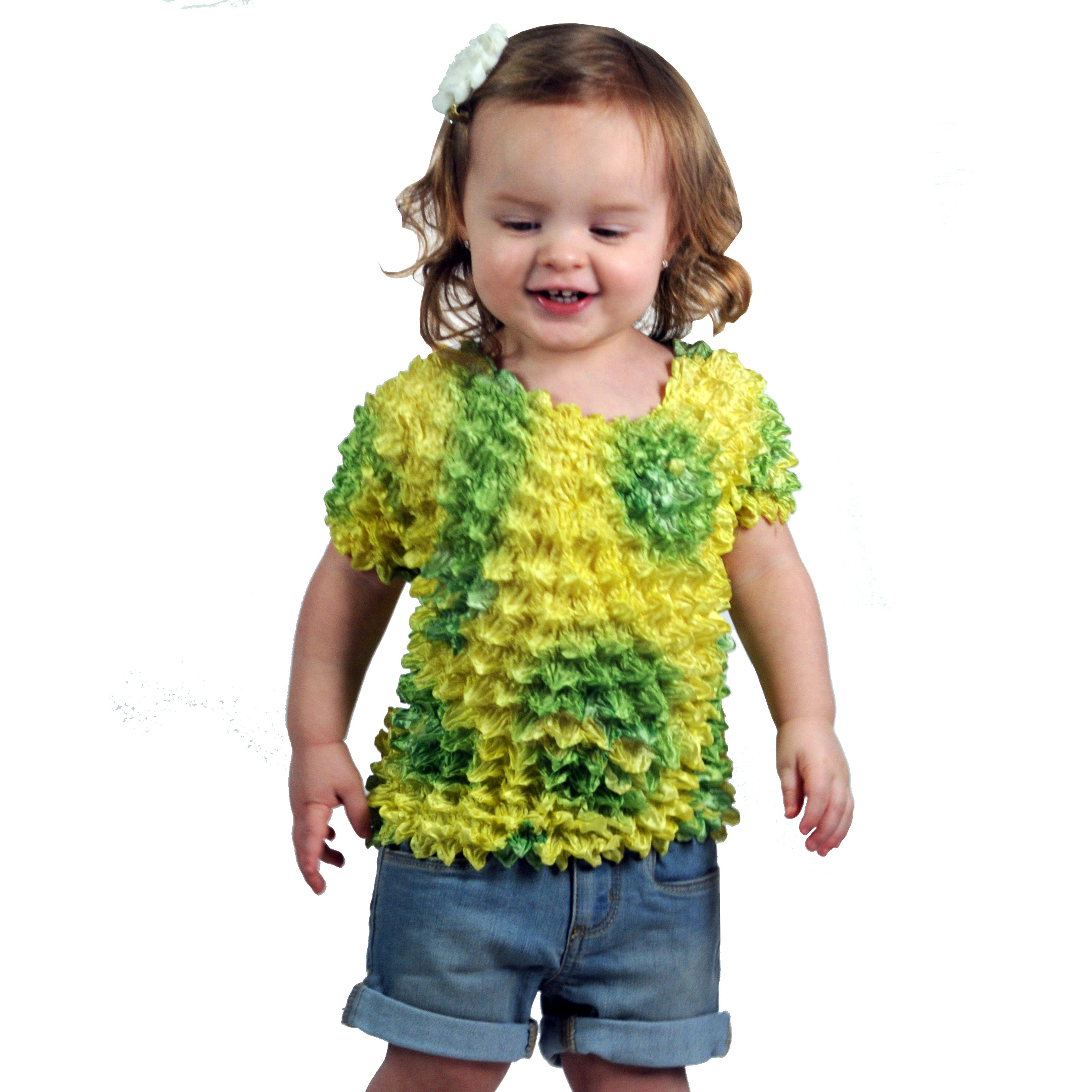 Wholesale Silky Touch Popcorn - Kids Size  Short Sleeve Lemon-Lime Butterflies - Toddler - Tween