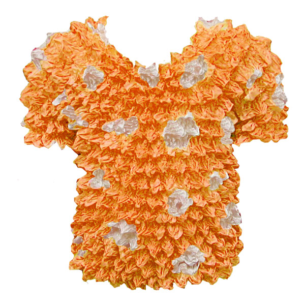 Wholesale Silky Touch Popcorn - Kids Size  Short Sleeve Pumpkin-White Dots - Toddler - Tween