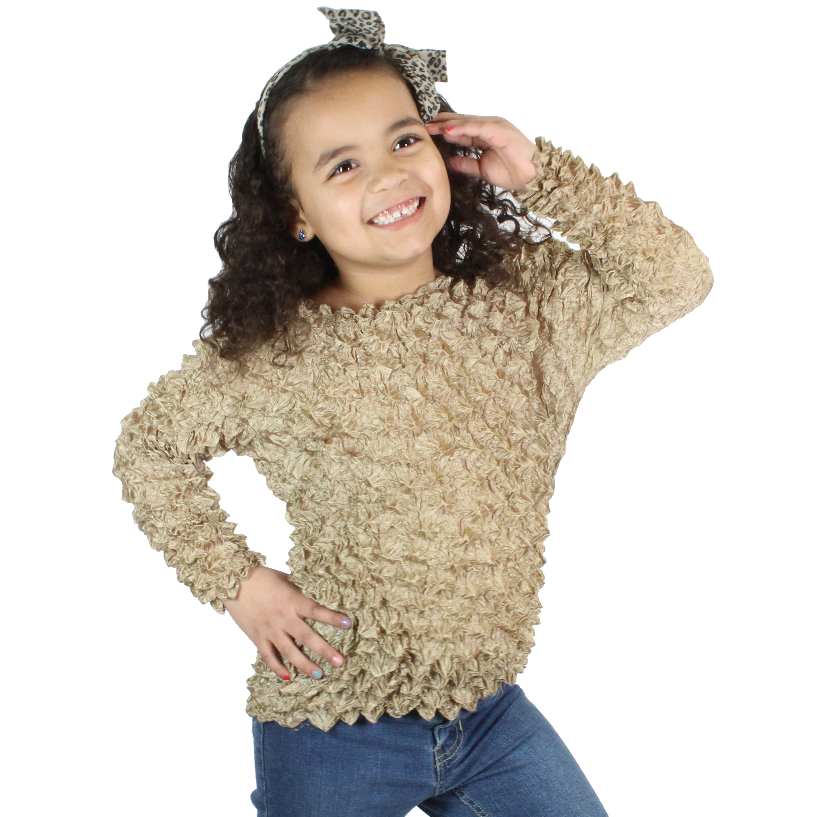 Wholesale Silky Touch Popcorn - Kids Size  Long Sleeve Champagne - Toddler - Tween