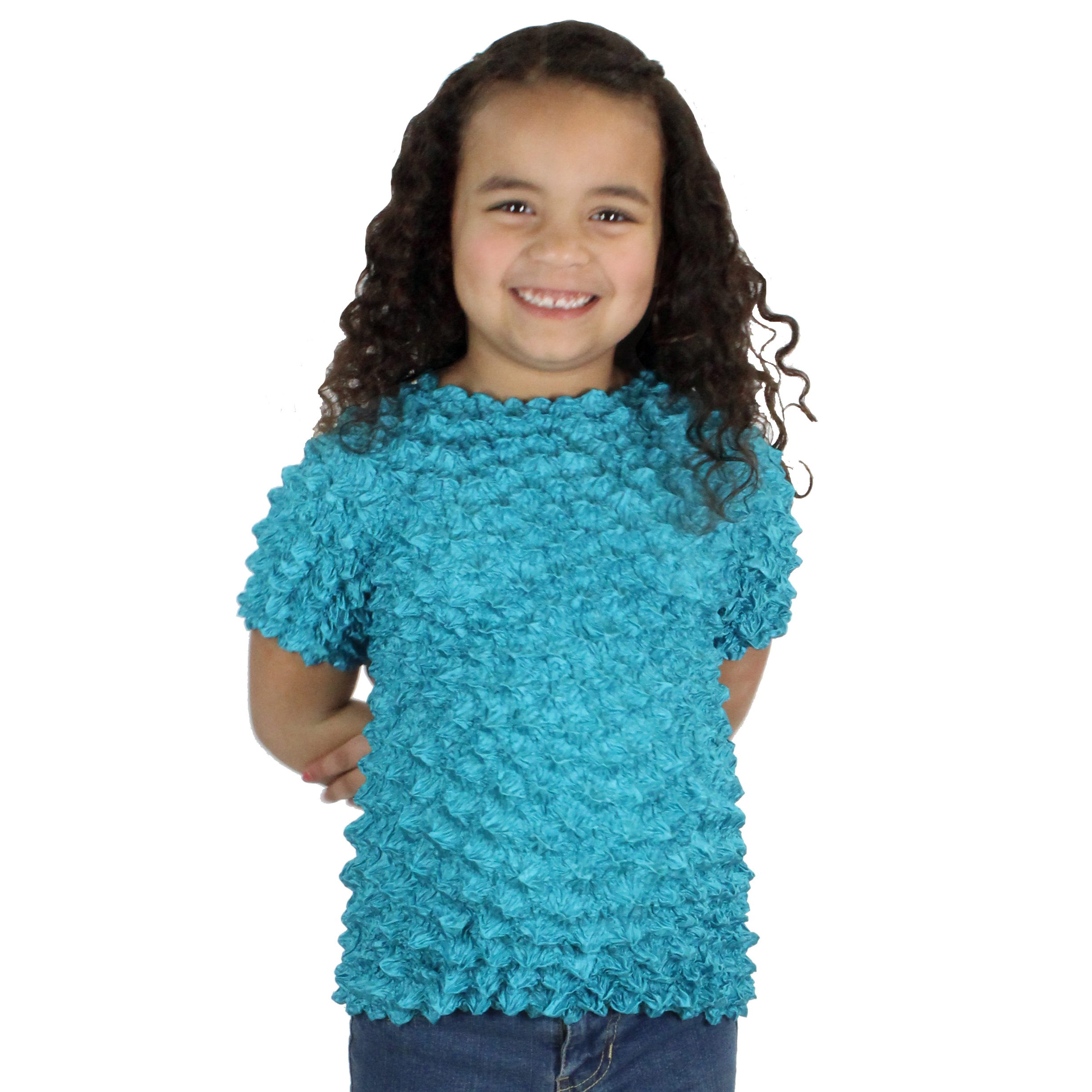 Wholesale Silky Touch Popcorn - Kids Size  Short Sleeve Teal - Toddler - Tween